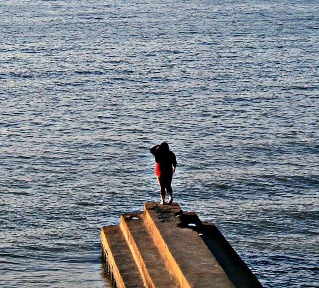 century park woman on pier