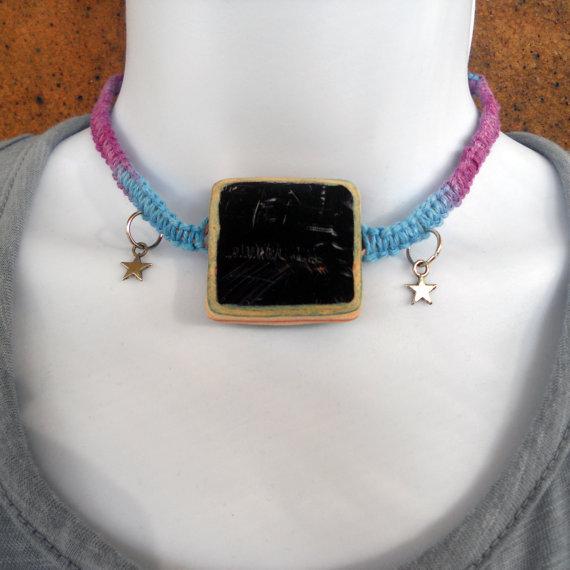 TakeTwoSkateShop eco friendly recycled skateboard bead with stars reversible hemp necklace