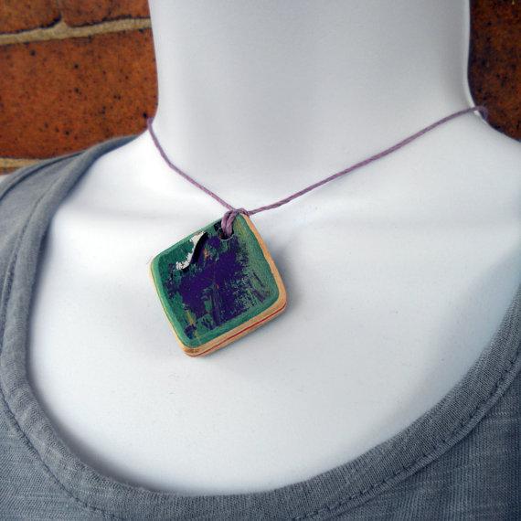 TakeTwoSkateShop self tie recycled skateboard deck wooden bead purple teal