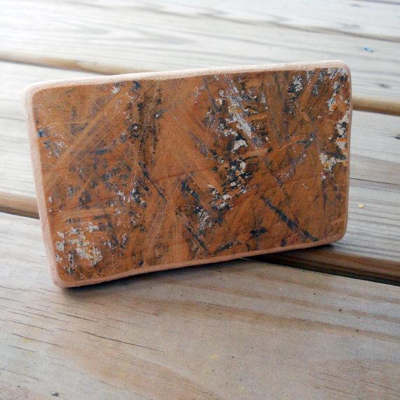TakeTwoSkateShop wooden belt buckle from recycled skateboard deck