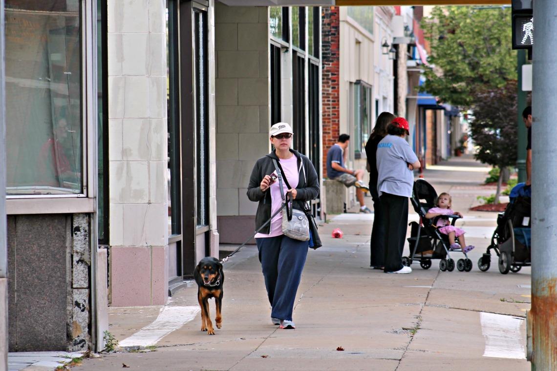 downtown dog walk