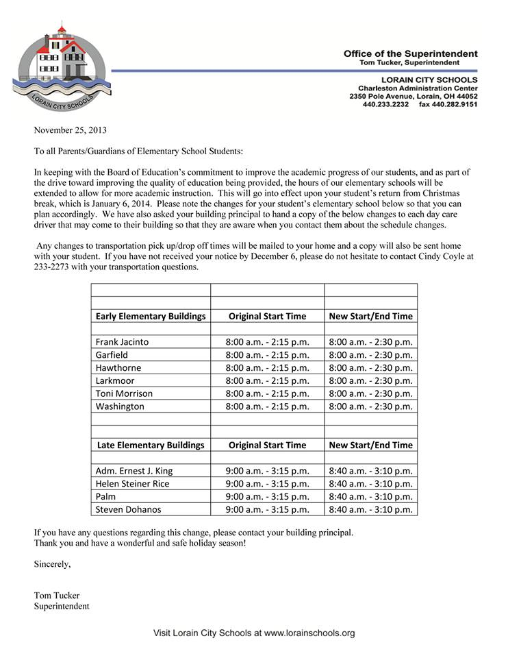 elementary school hours change january 2014