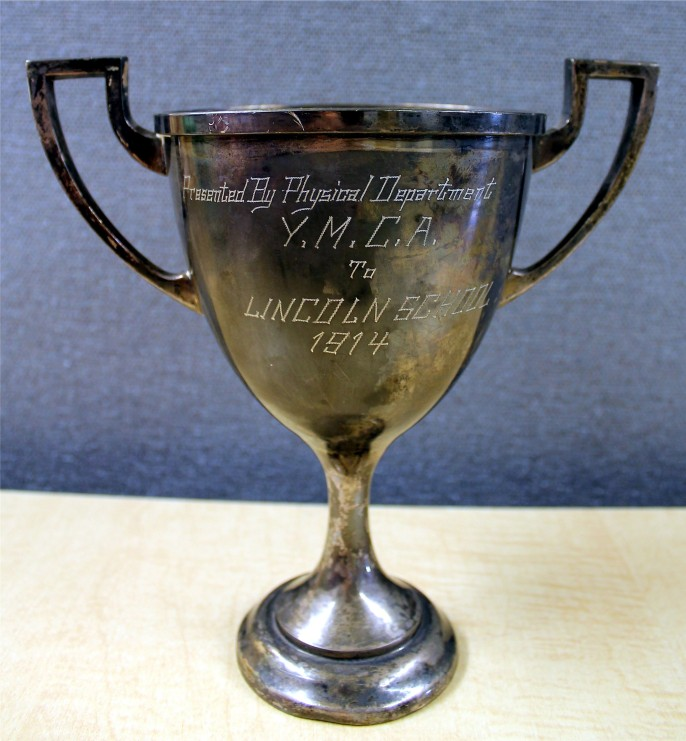 trophy cup presented by phys dept ymca to lincoln school 1914