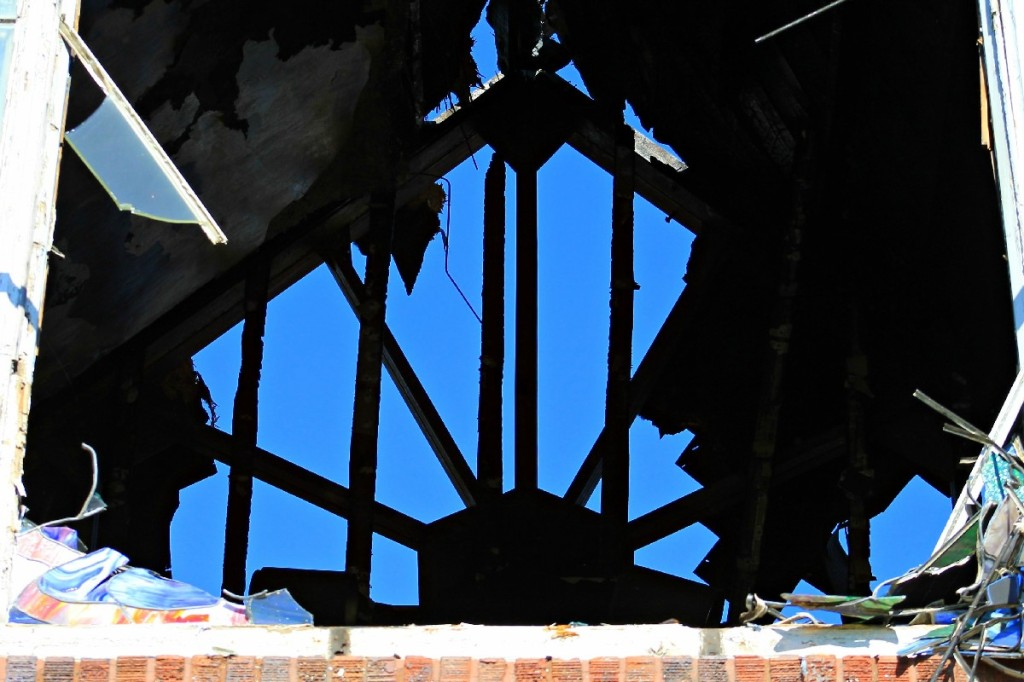 August 2014 First Lutheran fire stained glass