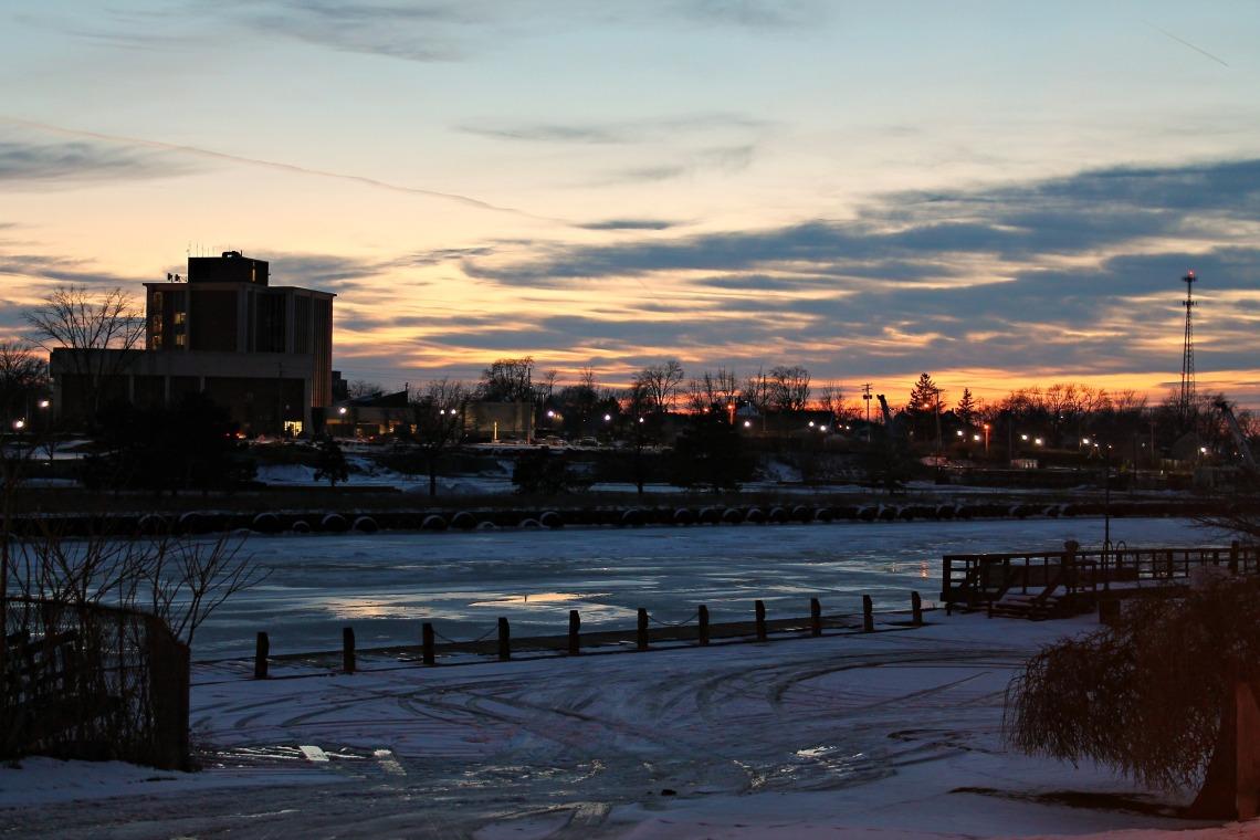 city hall skyline sunset