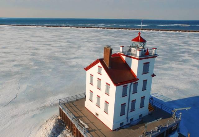 Bruce Bishop Lorain Lighthouse drone shot 01