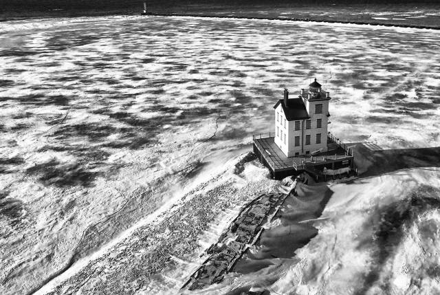 Bruce Bishop Lorain Lighthouse drone shot bw 02