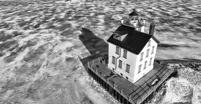 Bruce Bishop Lorain Lighthouse drone shot bw 03