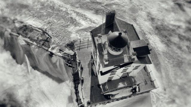 Bruce Bishop Lorain Lighthouse drone shot bw 04