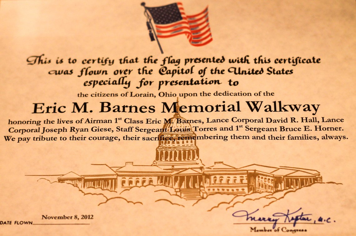 Eric Barnes flag certificate