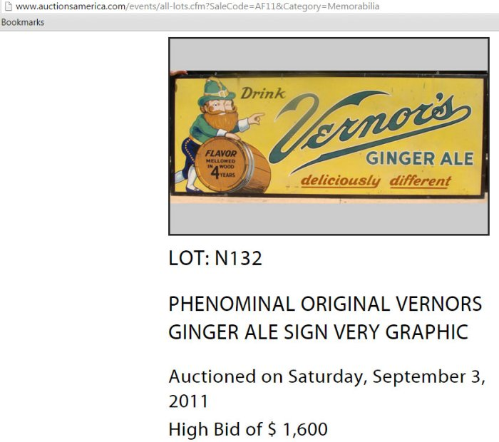 Vernors ginger ale sign