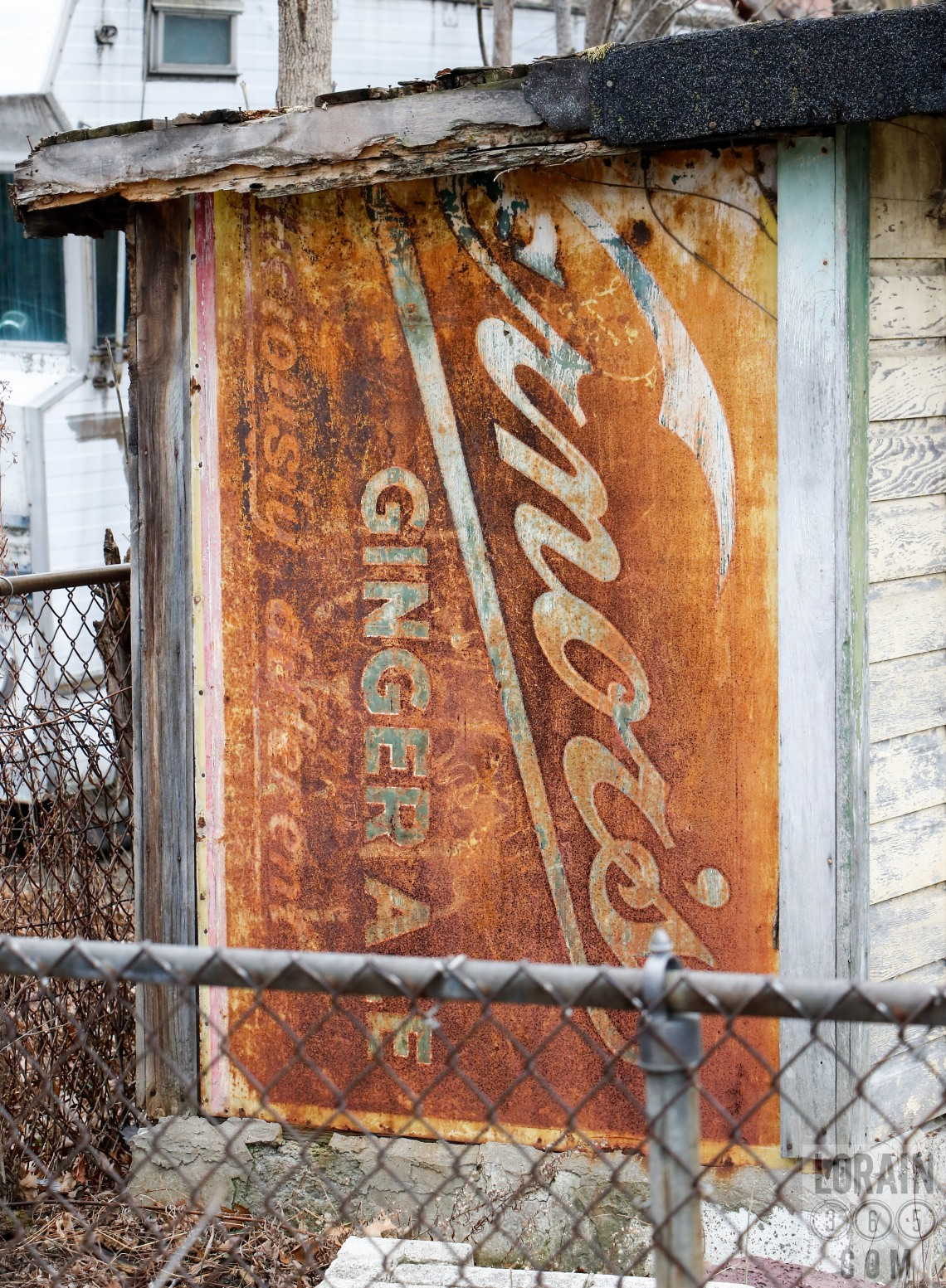 vintage vernors on a shed