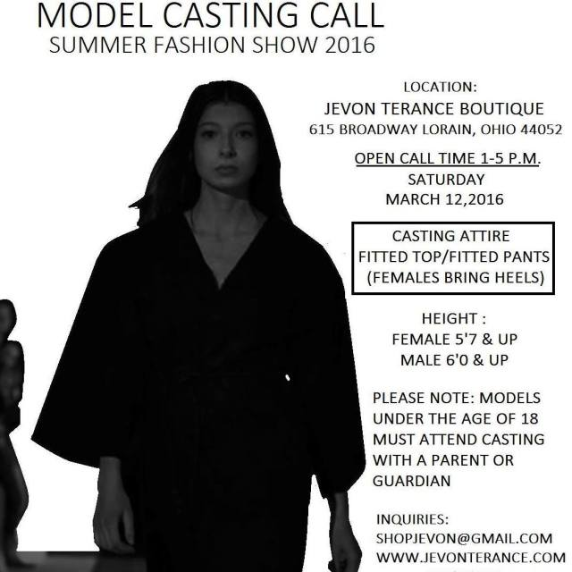 Jevon Terance Model Casting Call 031216