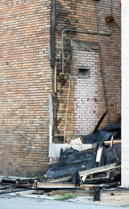 Fire damage, NW corner