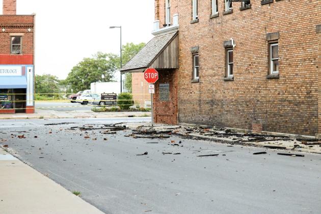 Debris on W. 7th Street