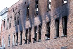 Fire damaged North wall