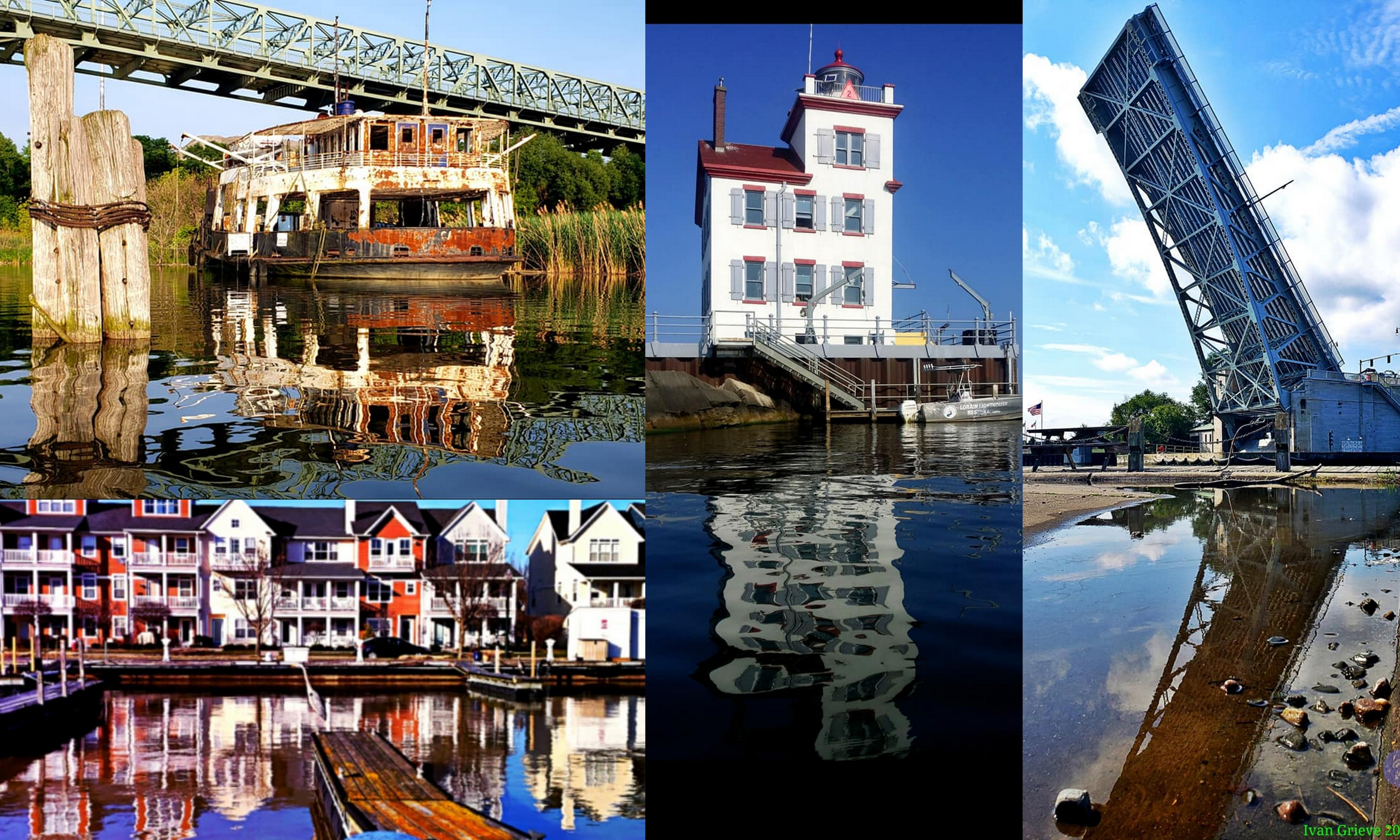 A four photo collage of reflections in the water of well-known local spots
