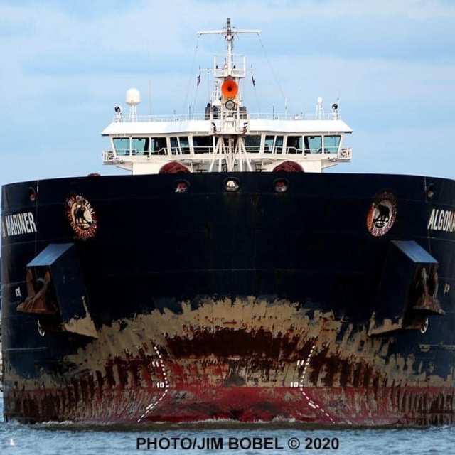 Weathered bow of lake freighter resembles scary face