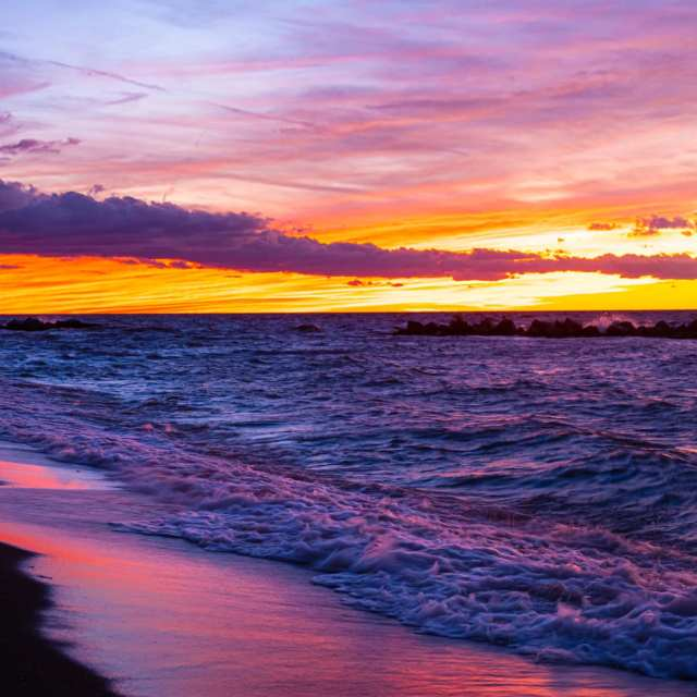 Colorful sunset over Lake Erie