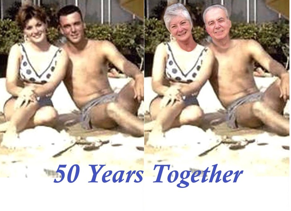 Original image of young couple on the beach next to edited image of young couple with current older faces.